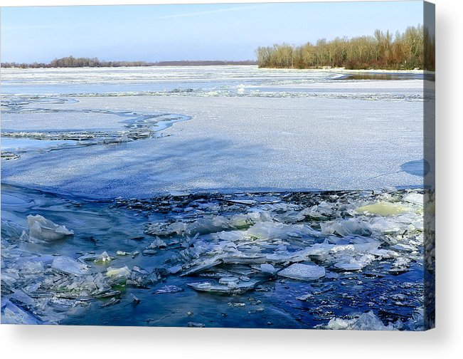 Dnieper Acrylic Print featuring the photograph The Frozen Dnieper River by Alain De Maximy