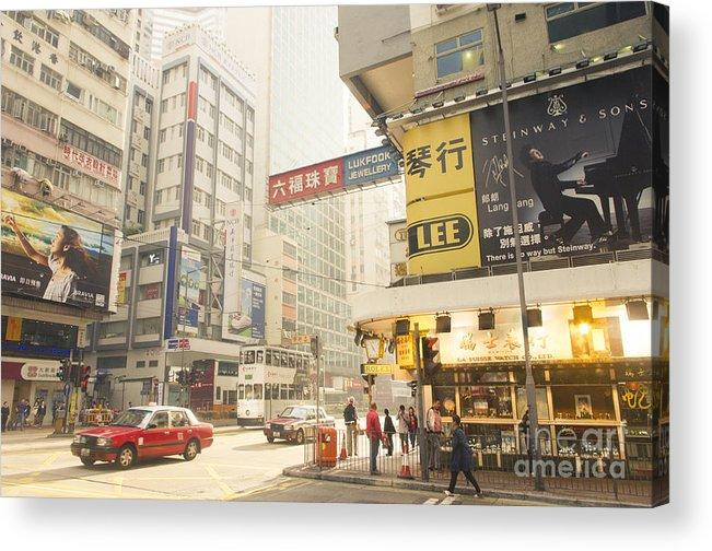 Wanchai Acrylic Print featuring the photograph wanchai street in Hong Kong by Tuimages