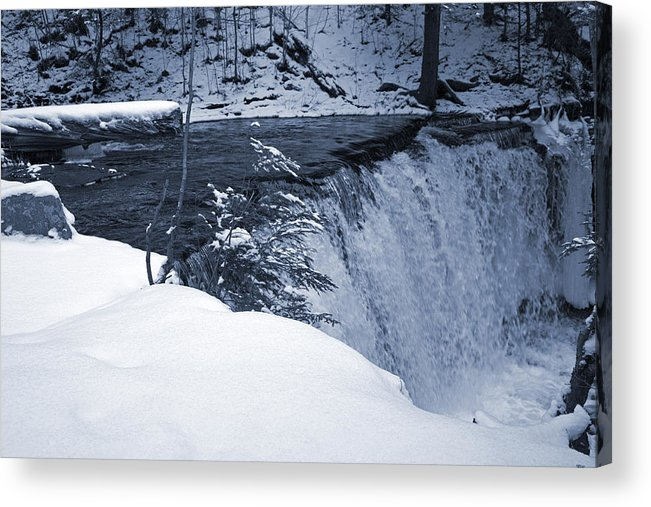 Waterfall Acrylic Print featuring the photograph Winter Waterfall Snow by John Stephens