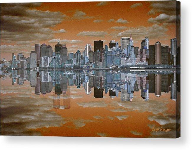 Manhattan Acrylic Print featuring the digital art Yesterday Reflexions by Coqle Aragrev