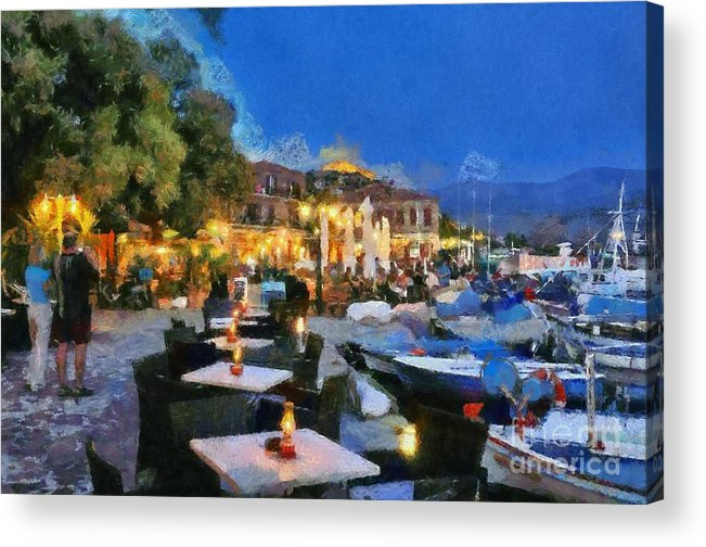 Lesvos; Lesbos; Molyvos; Molivos; Mithymna; Methymna; Village; Town; Island; Port; Harbor; People; Tourists; Man; Woman; Castle; Fortress; Boat; Boats; Fishing; Islands; Greece; Hellas; Greek; Aegean; Summer; Holidays; Vacation; Tourism; Touristic; Travel; Trip; Voyage; Journey; Dusk; Twilight; Night; Tables; Chairs; Bar; Pub; Inn; Blue Sky; Paint; Painting; Paintings Acrylic Print featuring the painting Molyvos Town In Lesvos Island by George Atsametakis