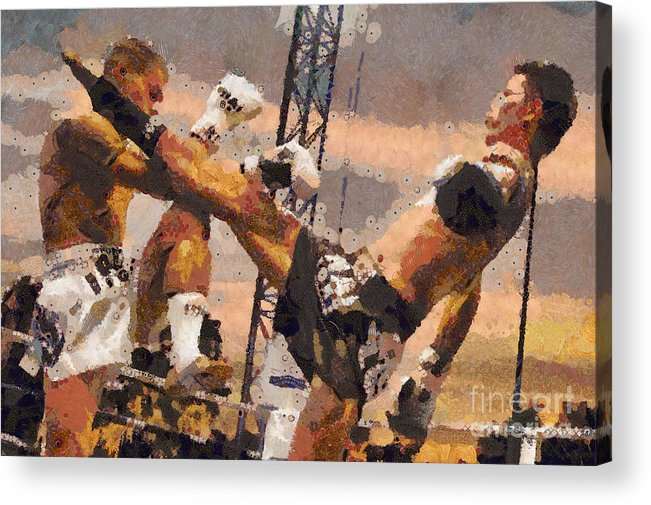 Muay Thai Acrylic Print featuring the digital art Muay Thai Arts Of Fighting by Rames Ratyantarakor