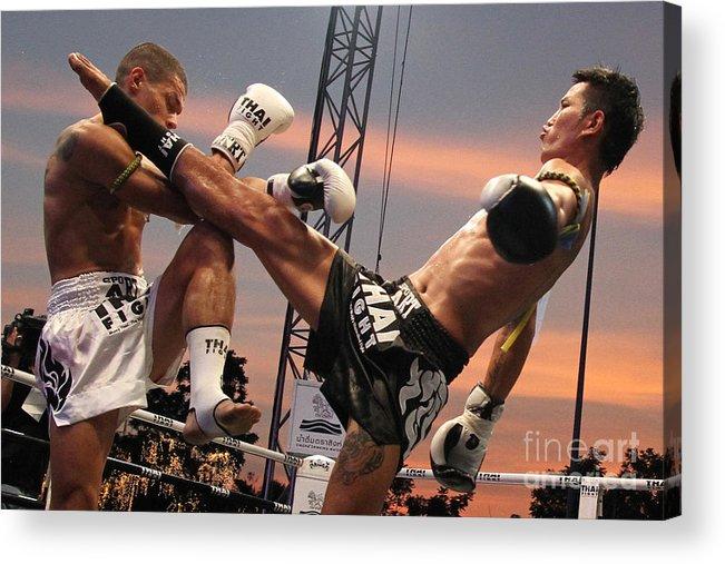 Muay Thai Acrylic Print featuring the photograph Muay Thai Arts Of Fighting by Rames Ratyantarakor