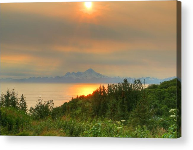 Acrylic Print featuring the photograph 11pm Sunset Iliamna by Gene Rooney