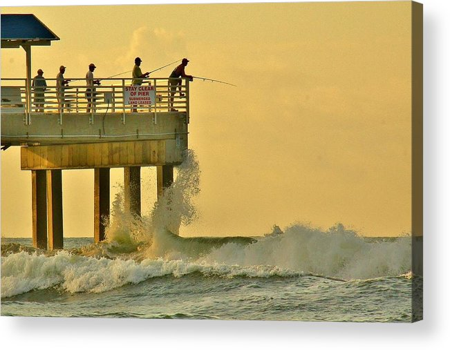 Orange Beach Acrylic Print featuring the photograph 12002 Four Seasons Pier by Joe Boyington