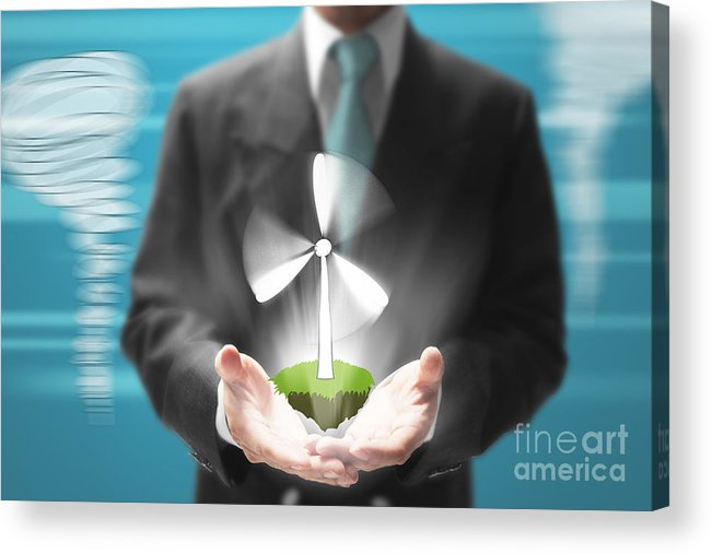 Alternative Acrylic Print featuring the mixed media Business Abstract by Atiketta Sangasaeng