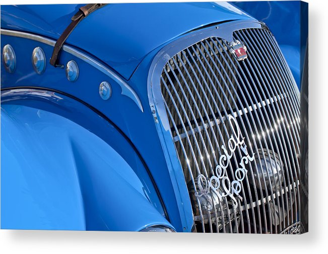 1937 Peugeot 402 Darl'mat Legere Special Sport Roadster Recreation Acrylic Print featuring the photograph 1937 Peugeot 402 Darl'mat Legere Special Sport Roadster Recreation Grille Emblem by Jill Reger