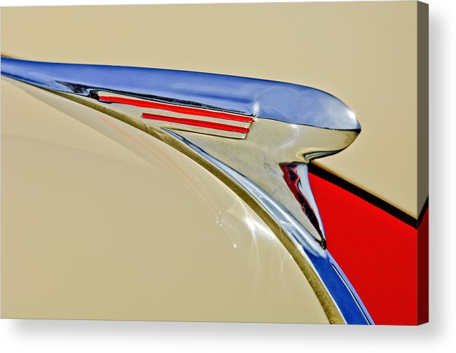 1940 Chevrolet Acrylic Print featuring the photograph 1940 Chevrolet Pickup Hood Ornament 2 by Jill Reger