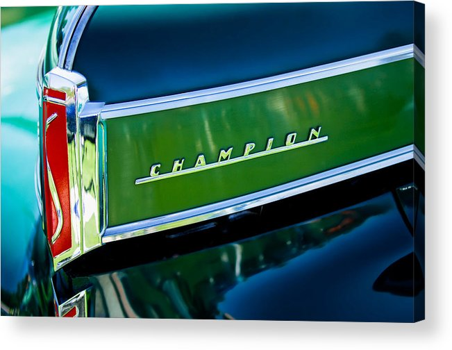 1941 Studebaker Champion Coupe Acrylic Print featuring the photograph 1941 Sudebaker Champion Coupe Emblem by Jill Reger