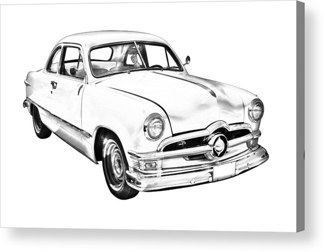 Ford; Vintage; Old; 1950; Ford Custom; Classic; Car; Antique; Vehicle; Automobile; Auto; Retro; Transportation; American; Historic; Illustration; Drawing Acrylic Print featuring the photograph 1950 Ford Custom Antique Car Illustration by Keith Webber Jr