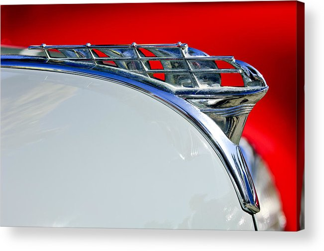 1950 Plymouth Coupe Acrylic Print featuring the photograph 1950 Plymouth Hood Ornament 3 by Jill Reger