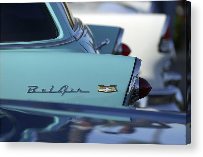 Car Acrylic Print featuring the photograph 1956 Chevrolet Belair Nomad Rear End by Jill Reger