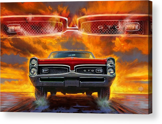 Sunset Acrylic Print featuring the digital art 1967 Pontiac Tempest Lemans Gto by Garth Glazier
