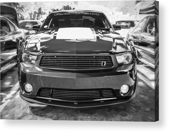Ford Mustang Acrylic Print featuring the photograph 2012 Ford Shelby Mustang Roush Stage 3 Painted Bw  by Rich Franco