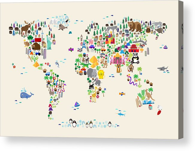3c175cd3af6 Animal Map Of The World For Children And Kids Acrylic Print by Michael  Tompsett
