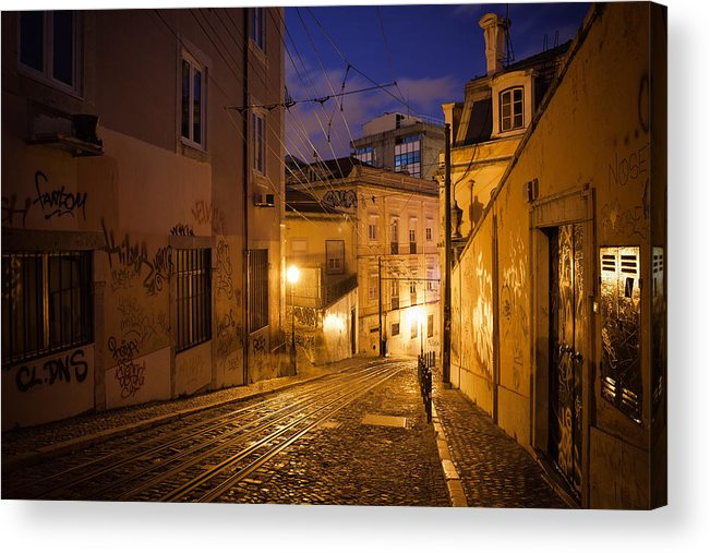 Lisbon Acrylic Print featuring the photograph Calcada Da Gloria Street At Night In Lisbon by Artur Bogacki