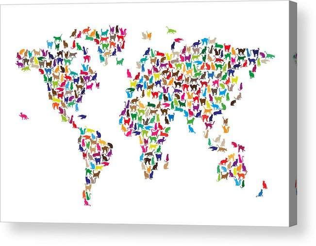 World Map Acrylic Print featuring the digital art Cats Map Of The World Map by Michael Tompsett