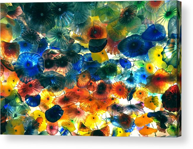 Nature Acrylic Print featuring the pyrography Glass Flowers by Ernesto Cinquepalmi