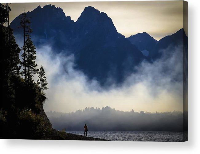 Jackson Lake Acrylic Print featuring the photograph Grand Teton Sunset by RiverNorth Photography