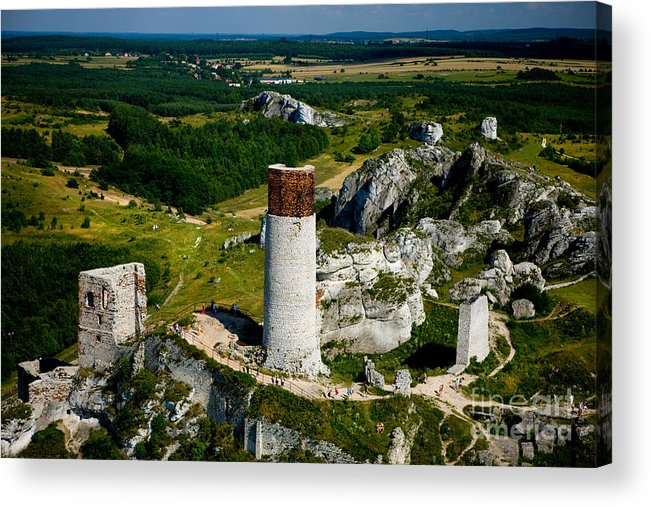 Aerial Acrylic Print featuring the photograph Old Castle Ruins by Monika Wisniewska