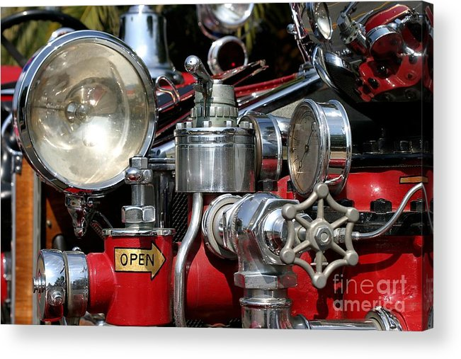 911 Acrylic Print featuring the photograph Old Fire Truck by Henrik Lehnerer