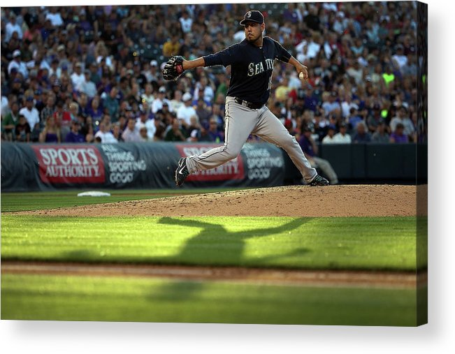 People Acrylic Print featuring the photograph Seattle Mariners V Colorado Rockies by Doug Pensinger