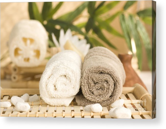 Towels Acrylic Print featuring the photograph Spa by Mythja Photography