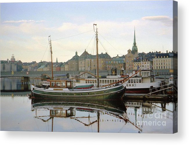 Sweden Acrylic Print featuring the photograph Stockholm City Harbor Sunrise by Ted Pollard