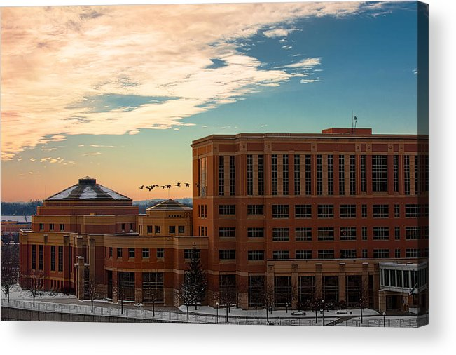 Rochester Minnesota Geese Goose Bird Fowl Water Waterfowl Winter Snow Orange Red Yellow Blue White Sky Winter Scenic City Architecture Fly Flight Cloud Sun Sunrise Photographs Acrylic Print featuring the photograph Sunrise Flyby by Tom Gort