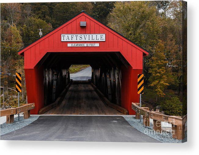 Bridge Acrylic Print featuring the photograph Taftsville Covered Bridge Vermont by Edward Fielding