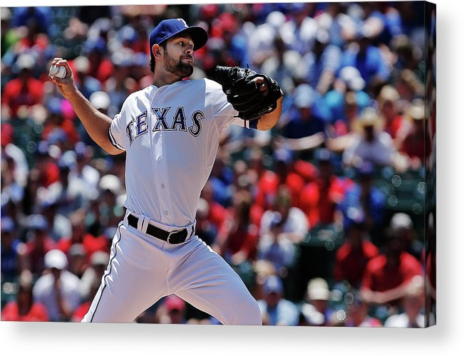American League Baseball Acrylic Print featuring the photograph Toronto Blue Jays V Texas Rangers by Brandon Wade