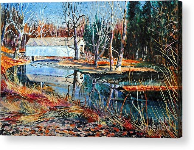Covered Bridge Acrylic Print featuring the painting White Covered Bridge by Doug Heavlow