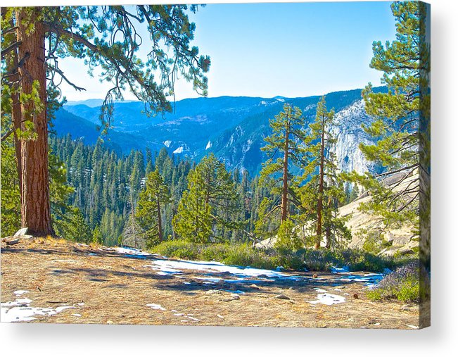 Yosemite Valley Mountainside From Sentinel Dome Trail In Yosemite Np Acrylic Print featuring the photograph Yosemite Valley Mountainside From Sentinel Dome Trail In Yosemite Np-ca by Ruth Hager