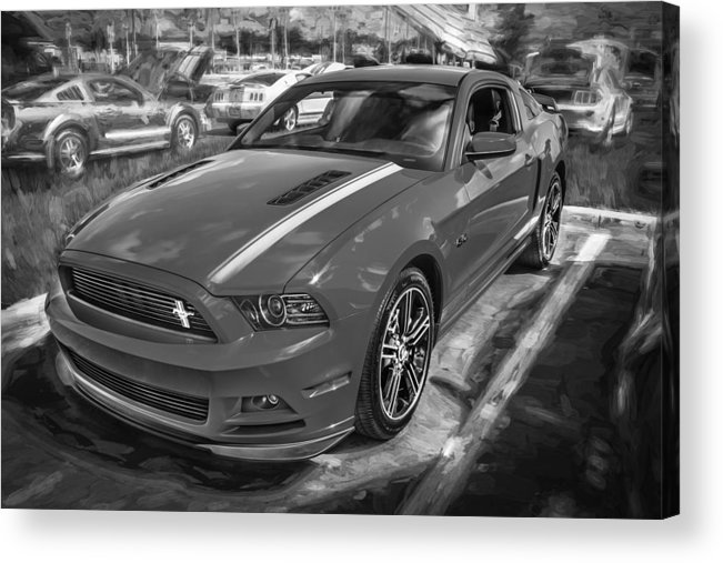 2013 Ford Mustang Acrylic Print featuring the photograph 2013 Ford Mustang Gt Cs Painted Bw by Rich Franco