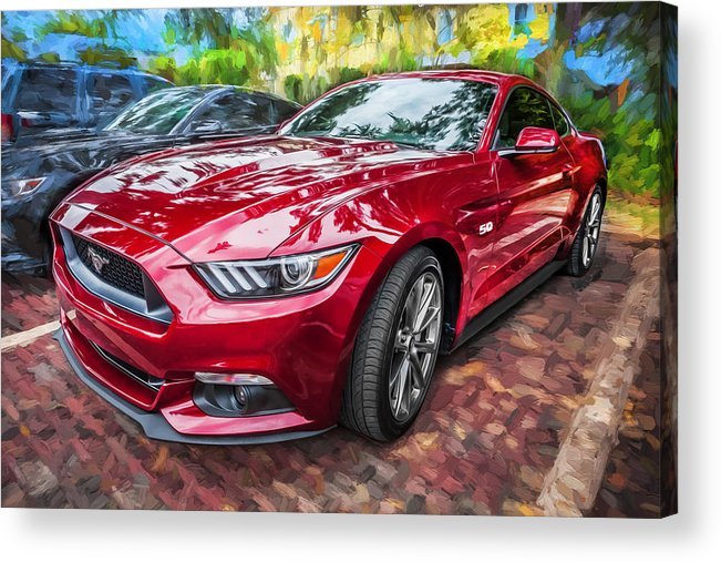 2015 Ford Mustang Acrylic Print featuring the photograph 2015 Ford Mustang Gt Painted  by Rich Franco