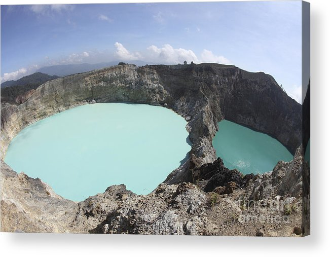Horizontal Acrylic Print featuring the photograph Colourful Crater Lakes Of Kelimutu by Richard Roscoe