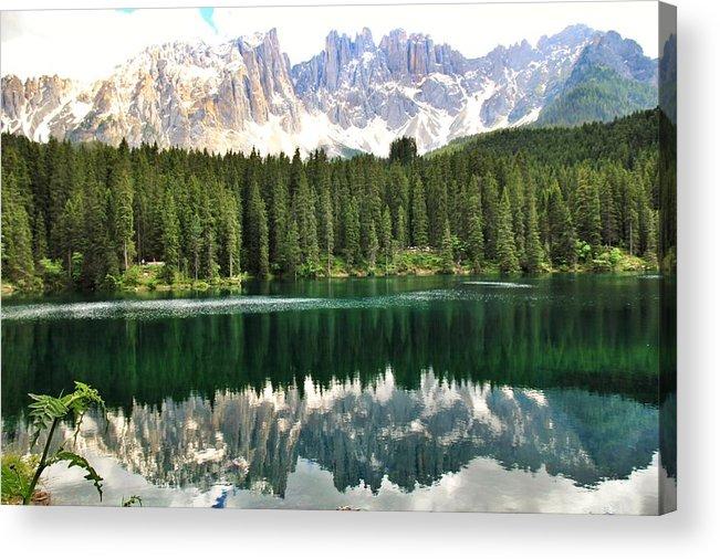 Lake Acrylic Print featuring the photograph Lake Carezza by Luisa Azzolini