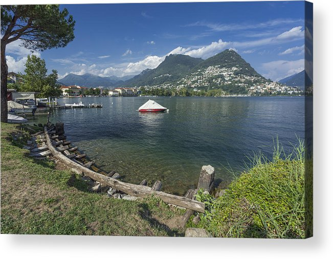 Lago Di Lugano Acrylic Print featuring the photograph Lugano By Lago Di Lugano by Radka Linkova