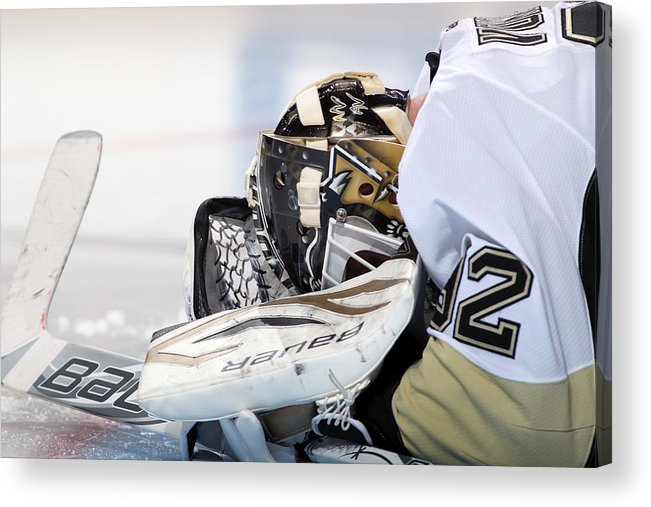 24ff629c3752 Tomas Vokoun Acrylic Print featuring the photograph Pittsburgh Penguins V Philadelphia  Flyers by Len Redkoles