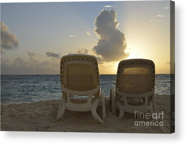 Tranquil Scene Acrylic Print featuring the photograph Sun Lounger On Tropical Beach by Sami Sarkis
