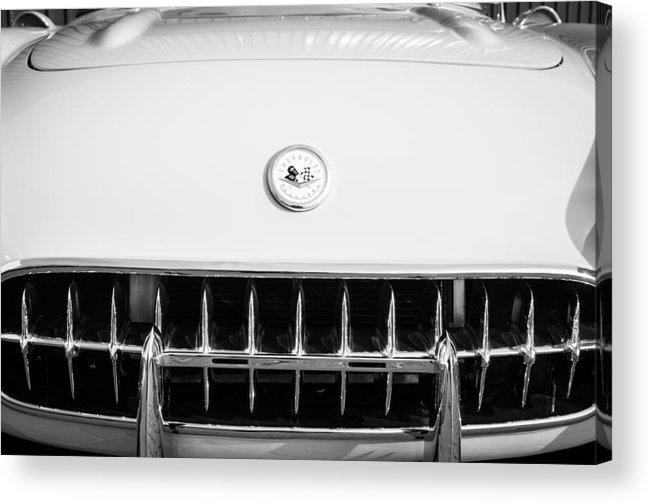 1957 Chevrolet Corvette Emblem Acrylic Print featuring the photograph 1957 Chevrolet Corvette Emblem by Jill Reger
