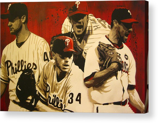 Philadelphia Acrylic Print featuring the painting 4 Aces by Bobby Zeik