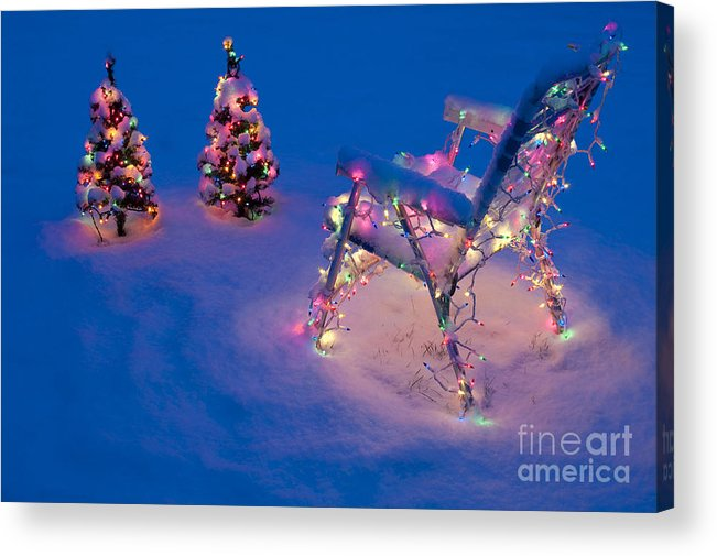 Christmas Acrylic Print featuring the photograph Christmas Lights On Trees And Lawn Chair by Jim Corwin