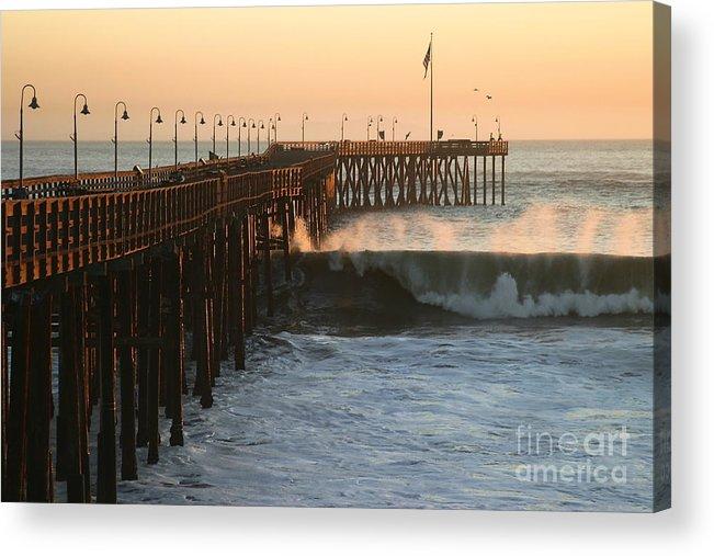 Storm Acrylic Print featuring the photograph Ocean Wave Storm Pier by Henrik Lehnerer