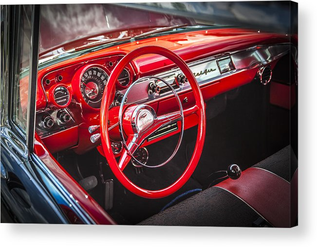 V8 Engine Acrylic Print featuring the photograph 1957 Chevrolet Bel Air by Rich Franco