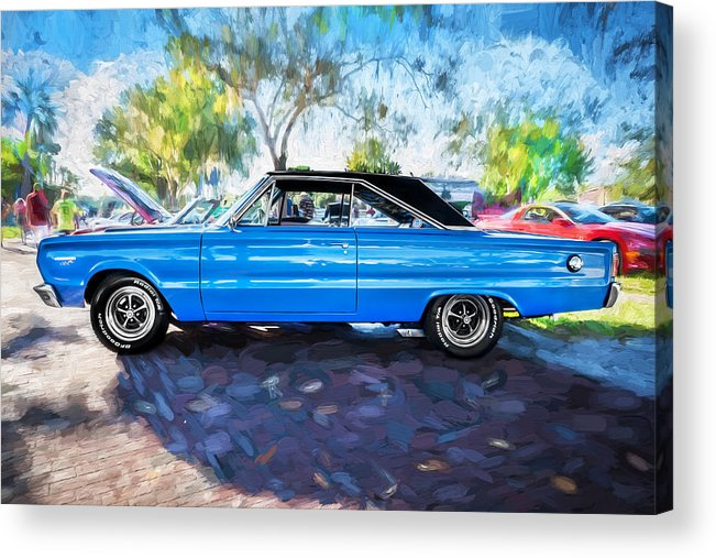 1967 Plymouth Acrylic Print featuring the photograph 1967 Plymouth Belvedere Gtx 440 Painted by Rich Franco