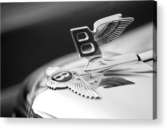 Bentley Hood Ornament Acrylic Print featuring the photograph Bentley Hood Ornament by Jill Reger