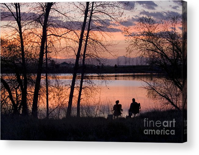 Colorado Acrylic Print featuring the photograph Fly Fishing At Sunset by Steve Krull