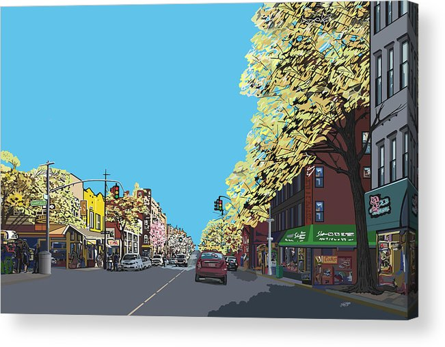 Landscape Acrylic Print featuring the digital art 5th Ave And Garfield Park Slope Brooklyn by James Mingo