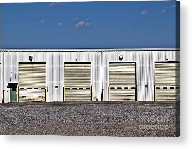 6 7 8 9 Warehouse Not In Use Now This Is A Very Large Trucking Opeation Acrylic Print featuring the photograph 6 7 8 9 Warehouse by JW Hanley